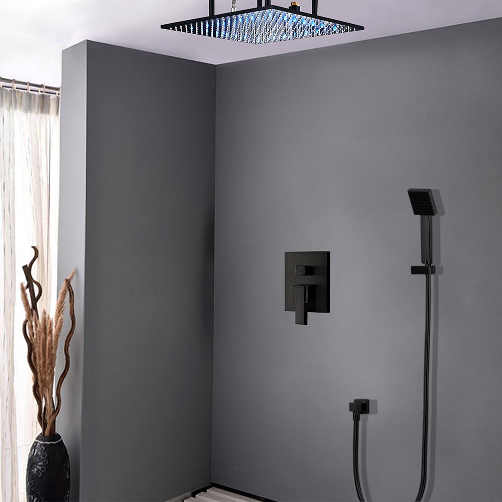 Luna Modern Design Oil Rubbed Bronze Square Color Changing LED Rain Shower Set