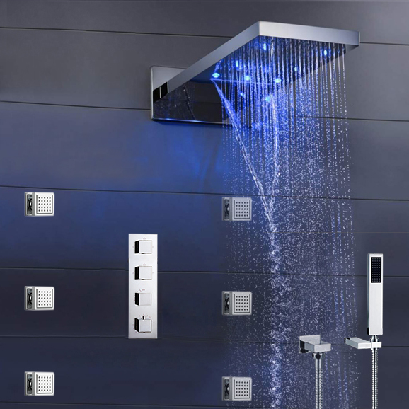 """Dijon 22"""" LED Color Changing Thermostatic Waterfall Rain Shower System"""
