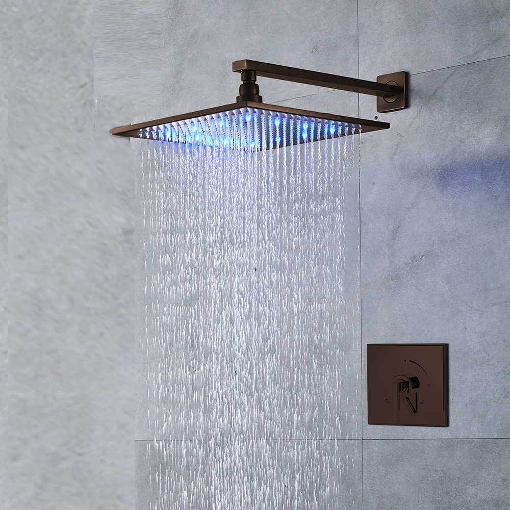 "Genoa 8"" Oil Rubbed Bronze Finish LED Shower Set with Hand Shower Brass Diverter"