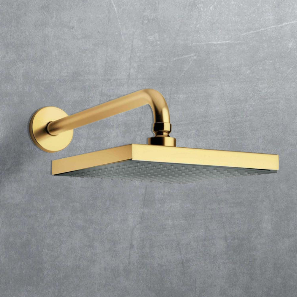 """12"""" Gold Tone Rain Shower Head Square"""