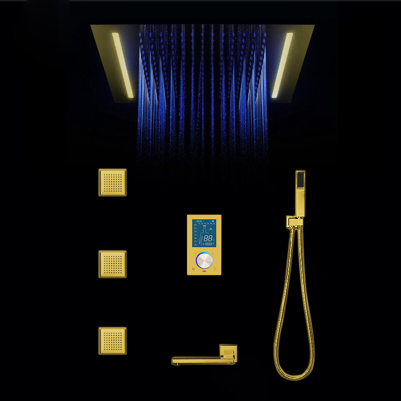 BathSelect Reno Gold Tone Color Changing LED Rain Shower Set