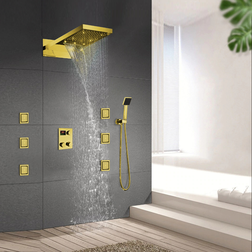Leonardo Gold Finish Rainfall Waterfall Shower System Set
