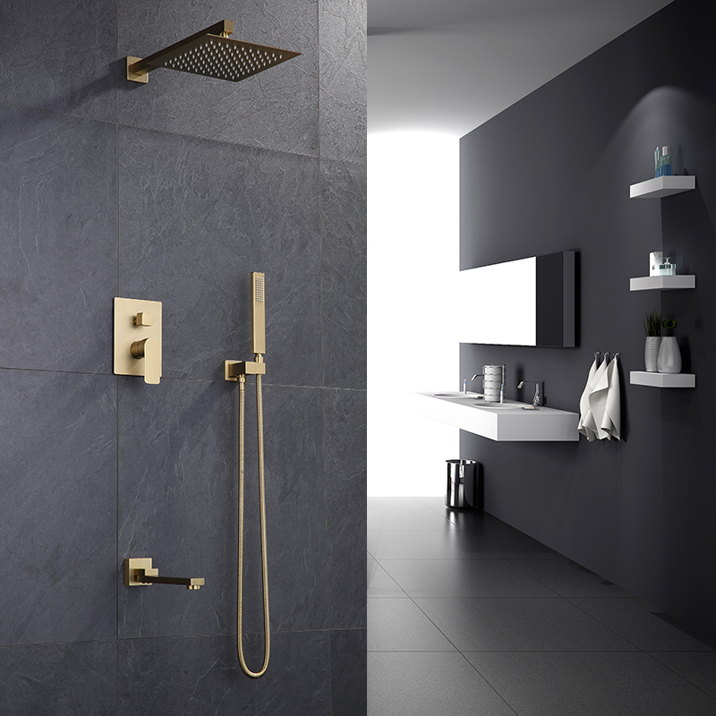 BathSelect Deauville Brushed Gold Bathroom Rainfall Shower Combo Set with Tub Faucet