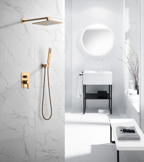 BathSelect Marseille Brushed Gold Wall Mount Rainfall Shower Head Combo Set
