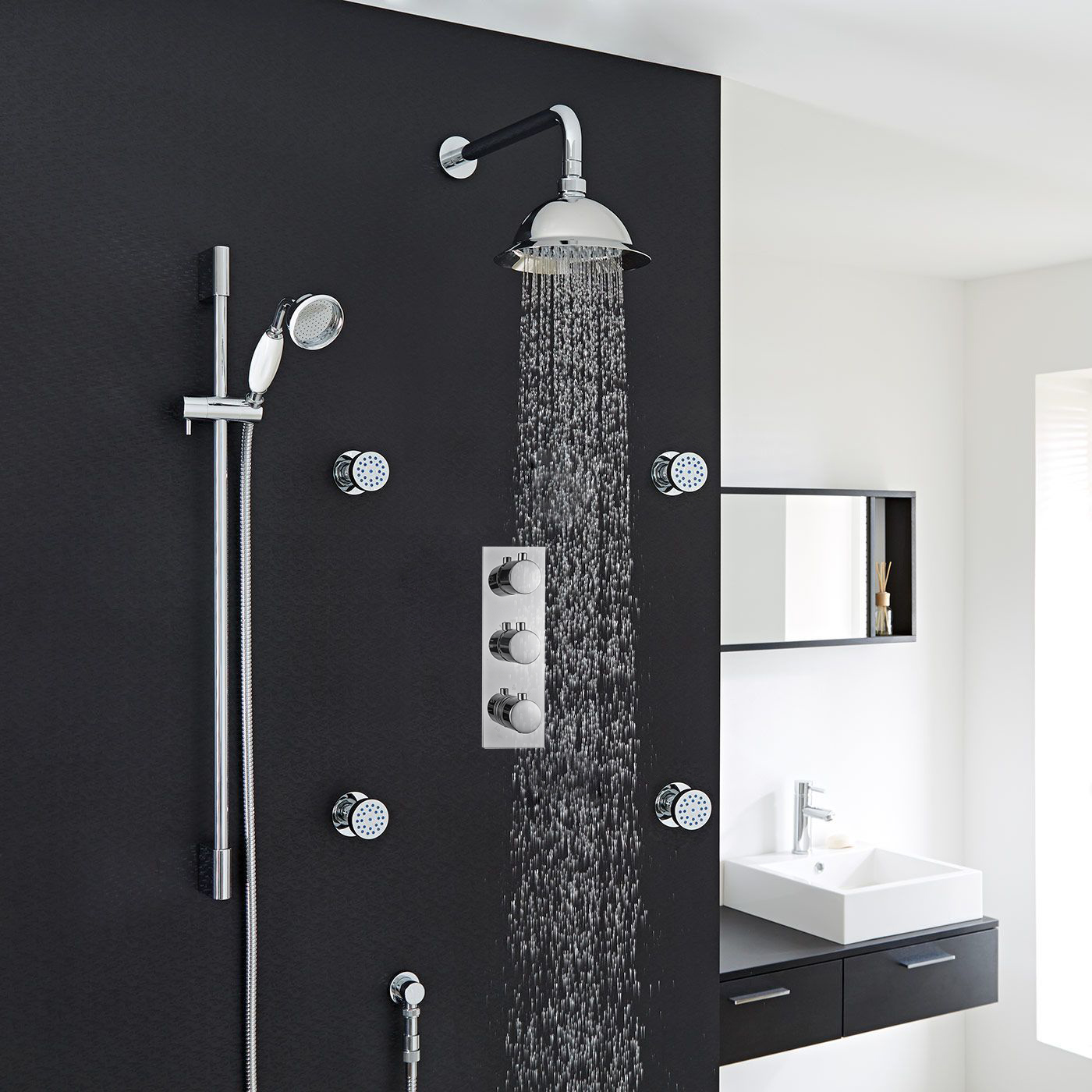 Lima-Thermostatic-Shower-System with concealed mixer