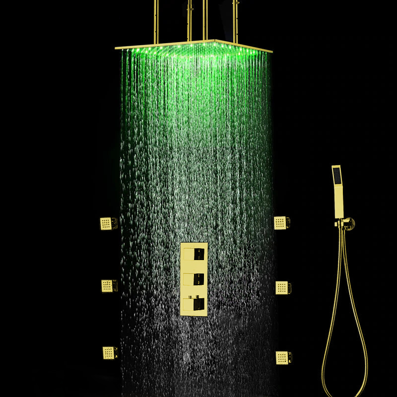 Venice Ceiling Mount LED Shower Set in Gold Finish
