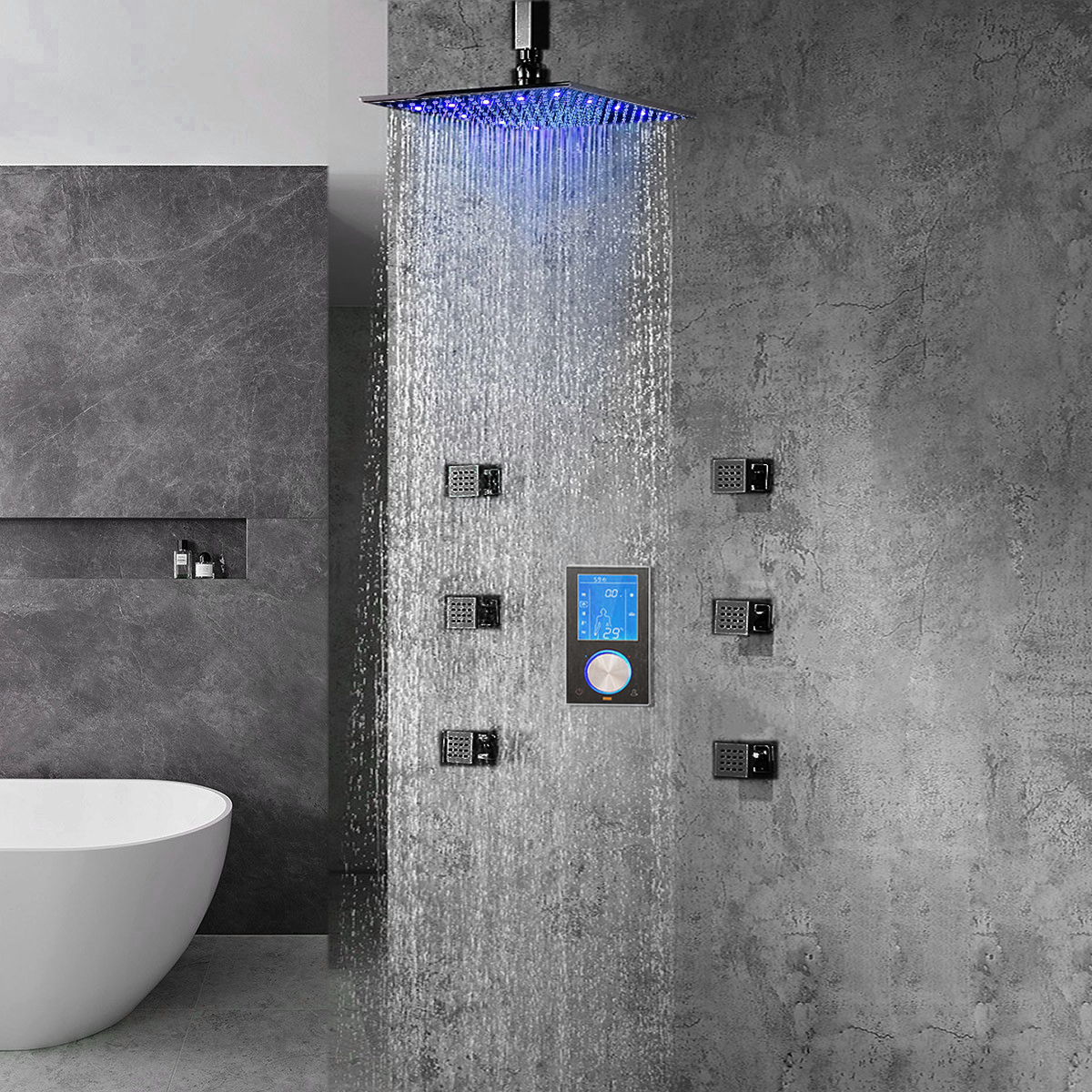 Milano Multi Color LED Rain Shower Head With Digital Mixer And 360° Adjustable Body Jets