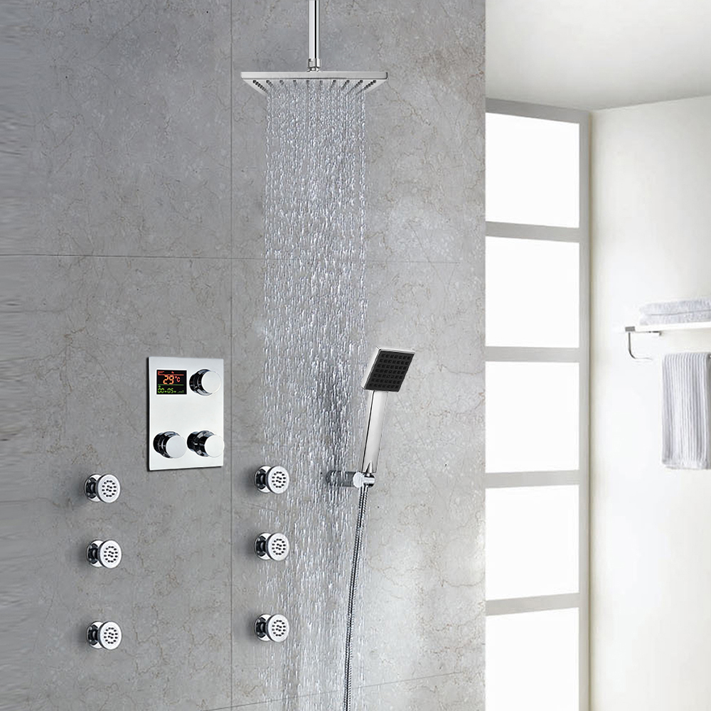 Thermostatic Digital Display Bathroom Rainfall Shower Set