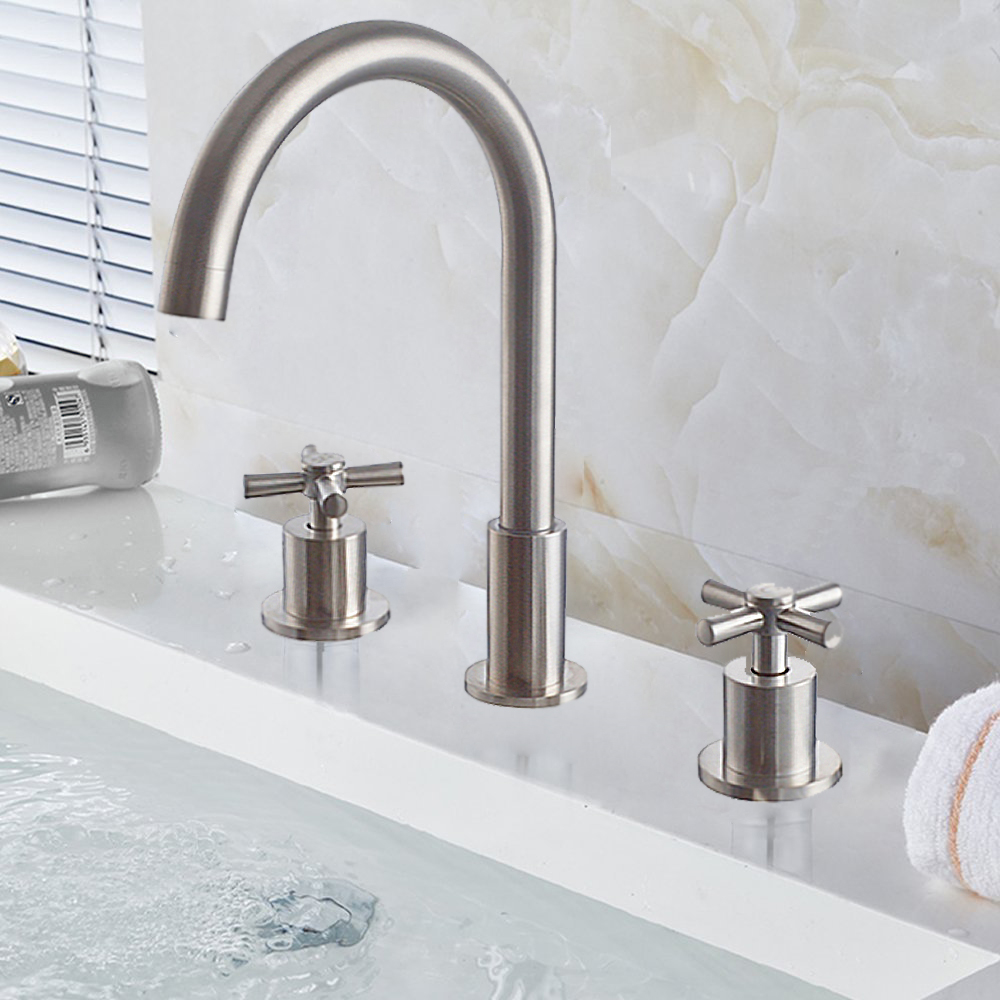 Contemporary Wave Faucet available in Chrome and Brushed Nickel