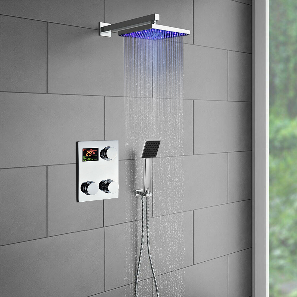 Automatic LED Colour Changing Shower Head Temperature Control Light Up Bathroom