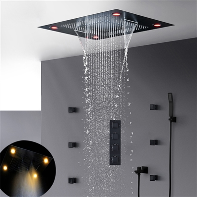 Lima Multi Color Water Powered Led Shower with Adjustable Body Jets and Mixer
