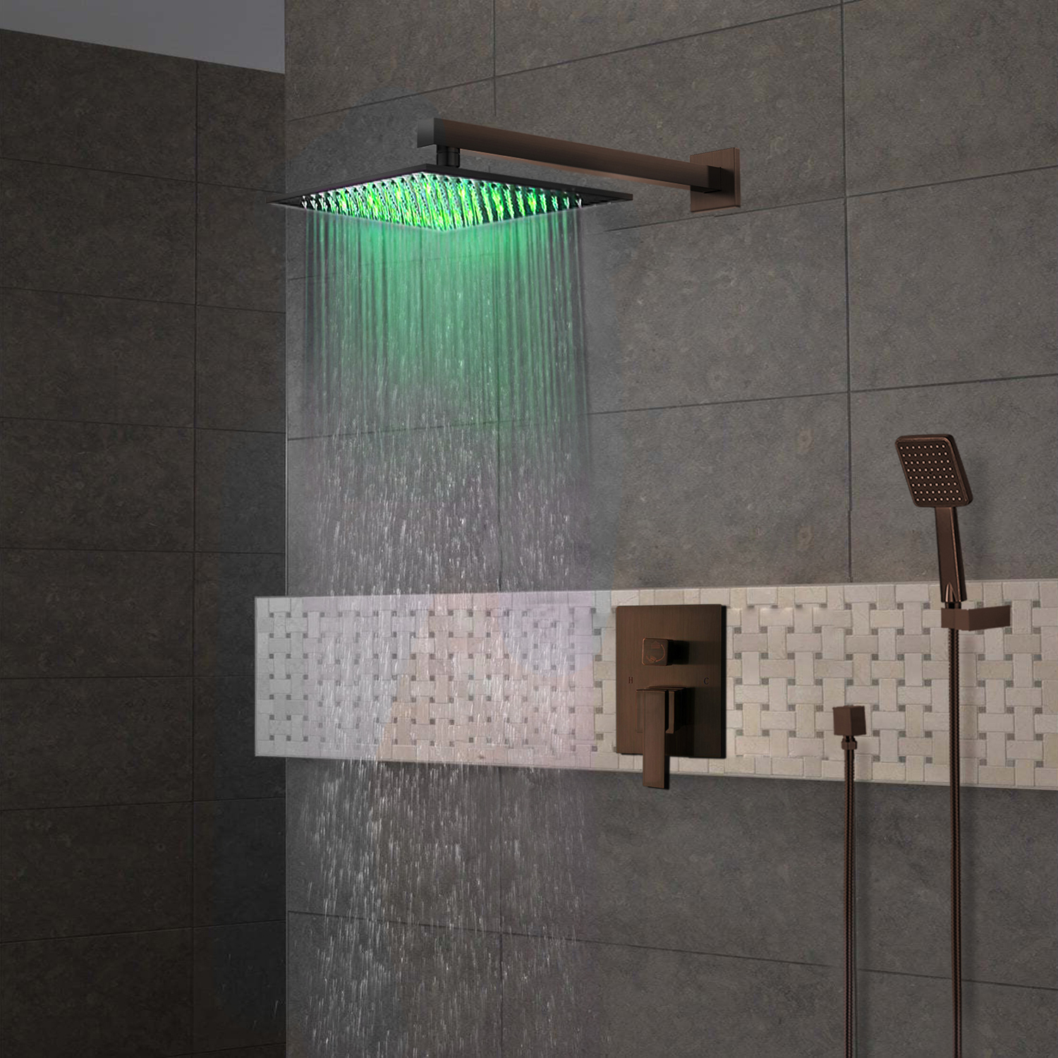 BathSelect Rivera Oil Rubbed Bronze LED Shower Set
