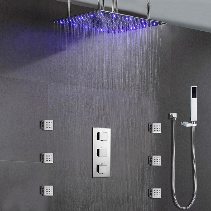 "Milan Juno 24""LED Rain Shower Head Thermostatic Shower Valve Set"