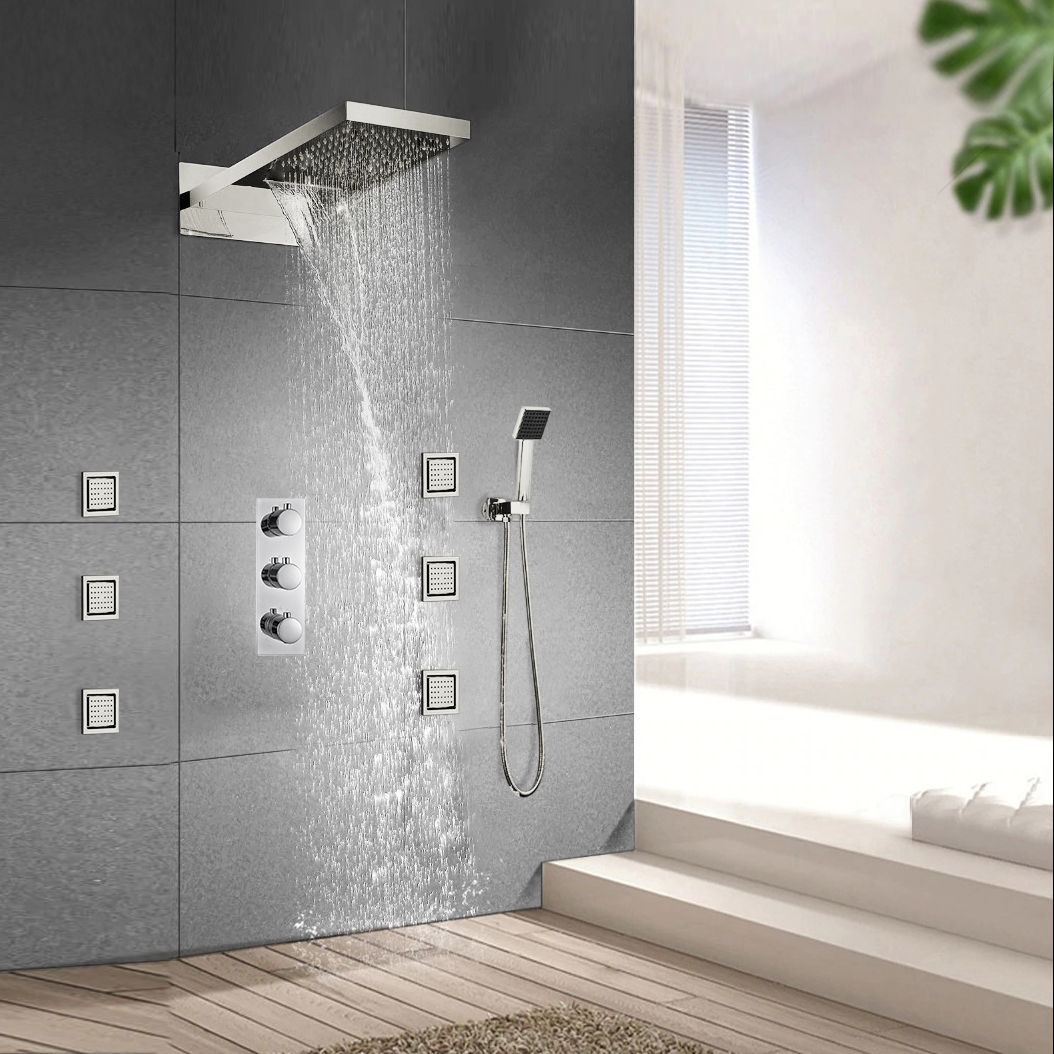 "Milan Juno 24""LED Rain Shower Head Thermostatic Shower Valve Set"