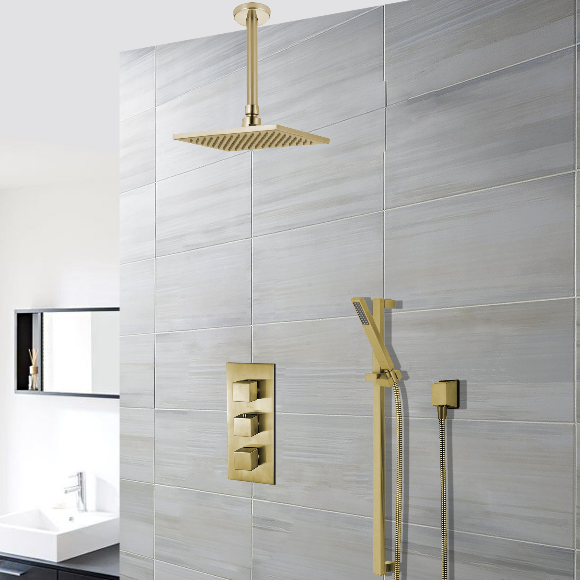 Benete Square Brushed Gold Rain Shower System Faucet Set 2 Outlets Ceiling Head & Handset