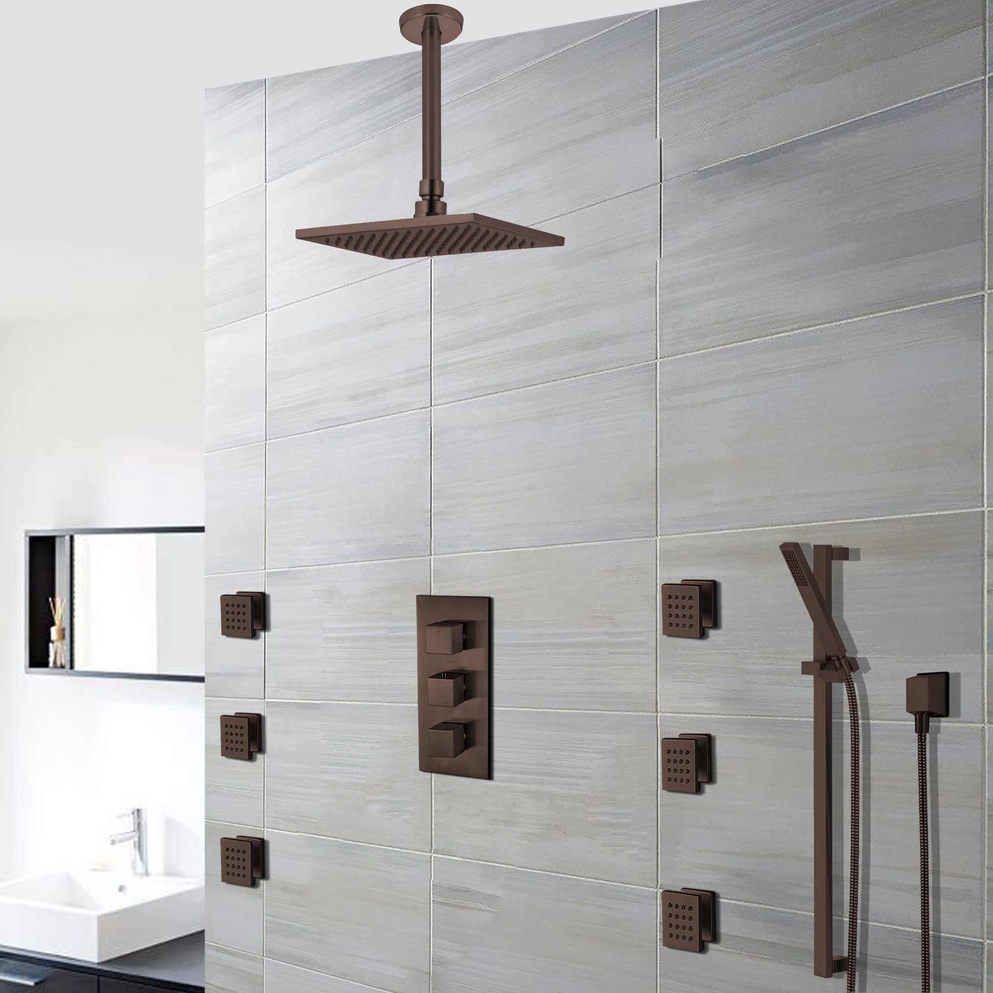 Soma Oil Rubbed Bronze Finish Thermostatic Shower Set Rain Head Multifunction Handset 6 Jets