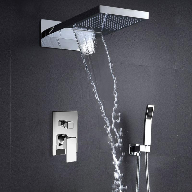 "22"" Lina Multifunctional Shower Head Mirror Chromed Polished 2 Way Rainfall Shower Set"