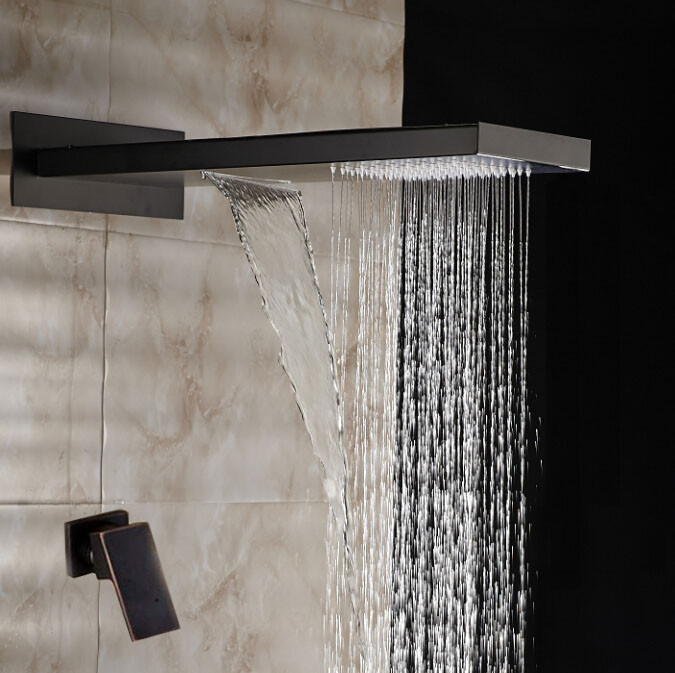 Billa Rainfall Oil Rubbed Bronze Water Fall Rain Fall Shower Head with Single Handle Controller