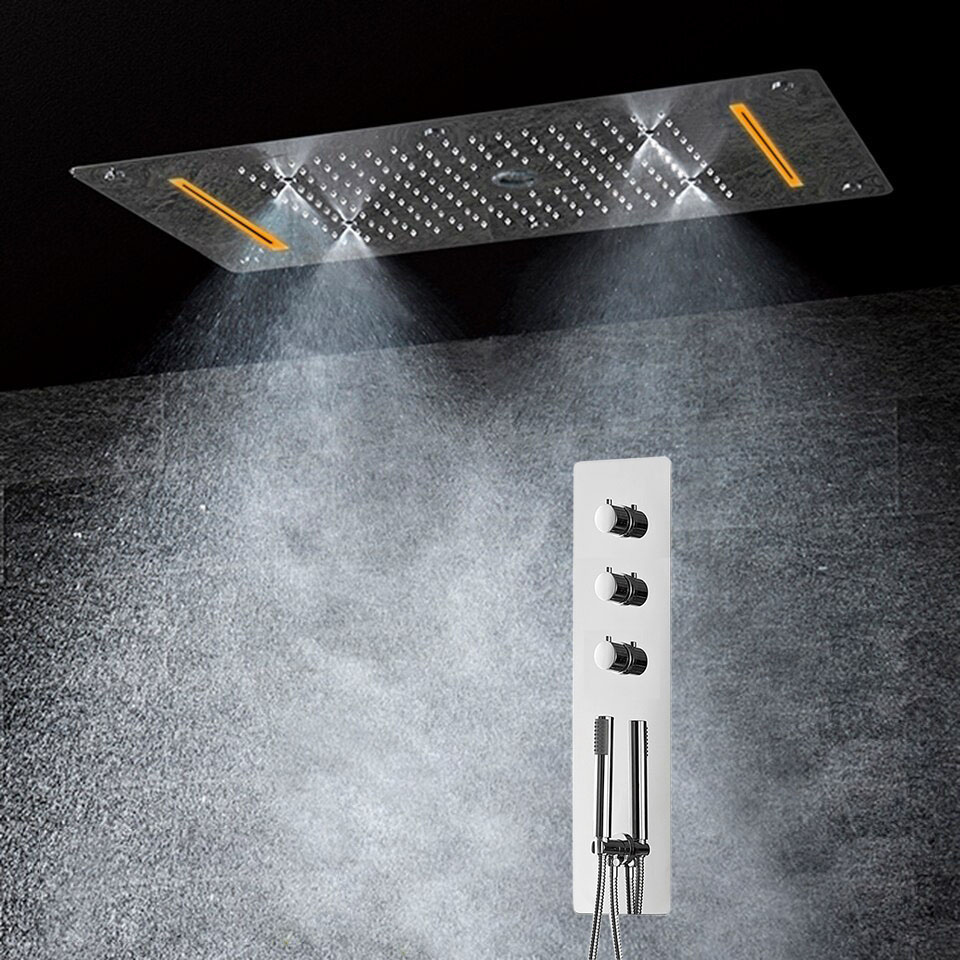 Lisbon Platinum Shower Set with 5 Functions Thermostatic Mixer with 700x380 LED Ceiling Shower Head