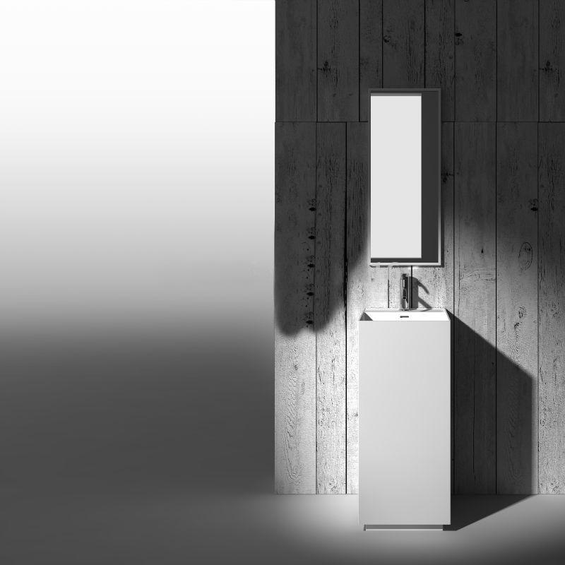 Bari Cuboid Pedestal Freestanding Vanity Sink