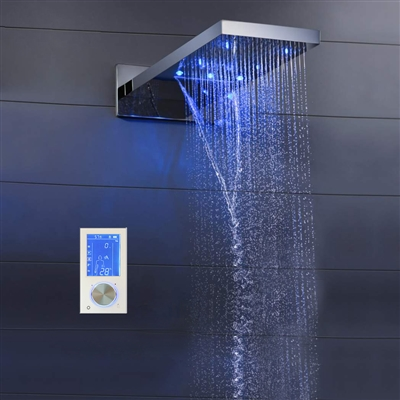 "BathSelect Lano 22"" Contemporary Multi Color Water Powered Led Shower Head"