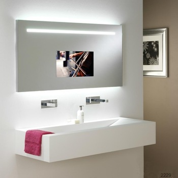 """BathSelect Tempered Glass Wall Mount Rectangular Smart Mirror With 65"""" Full HD Touchscreen TV"""