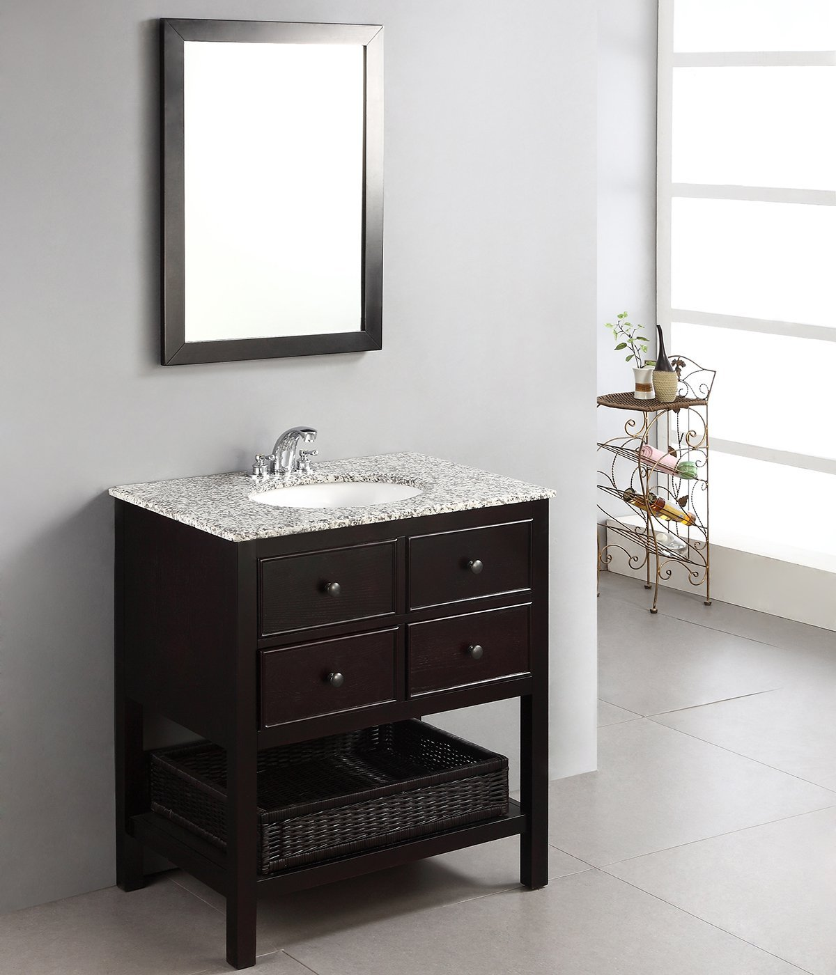 Bathselect 30 Bath Vanity with Dappled Grey Granite Top