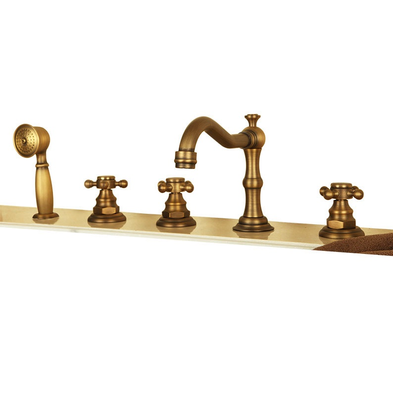 Buy Bona Antique Look Deck Mounted Triple Handle Bathtub Faucet ...