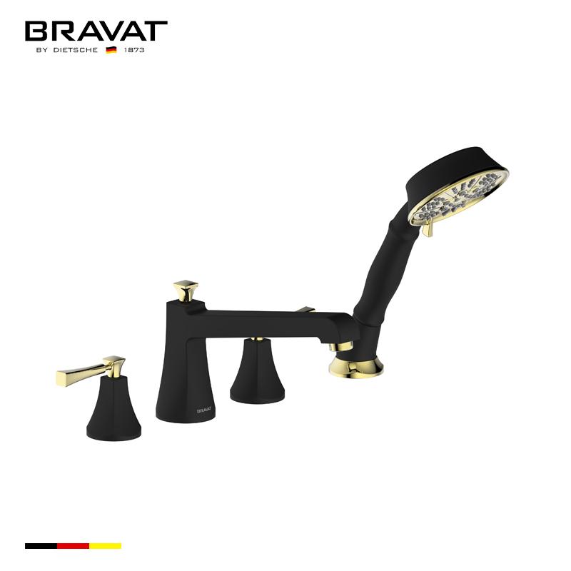 Bravat Dark Oil Rubbed Bronze Finish Bathtub Faucet With Hand Held Shower
