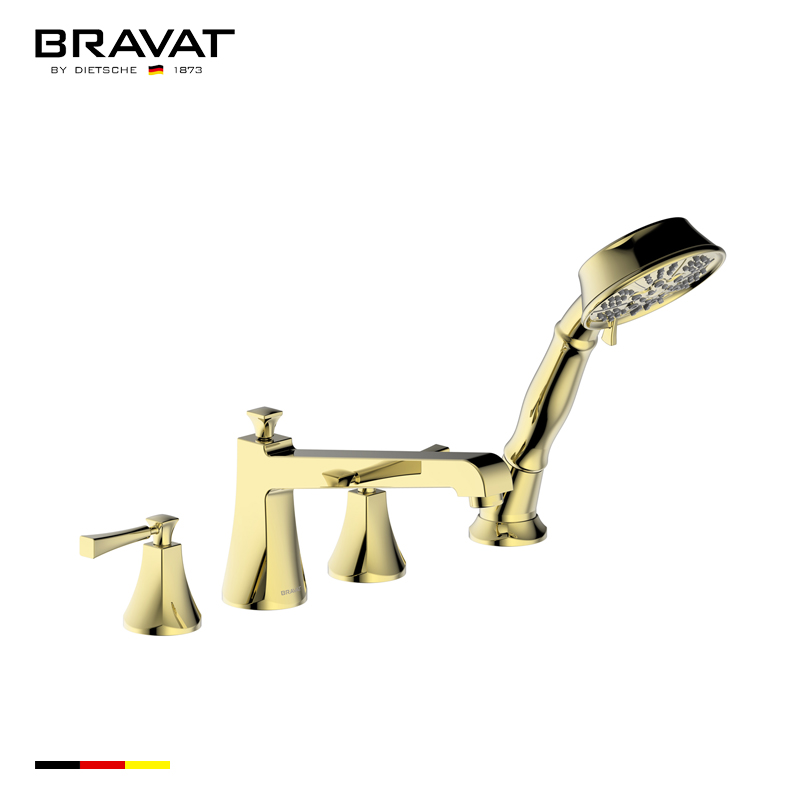 Bravat Gold Finish Bathtub Faucet With Dual Handle