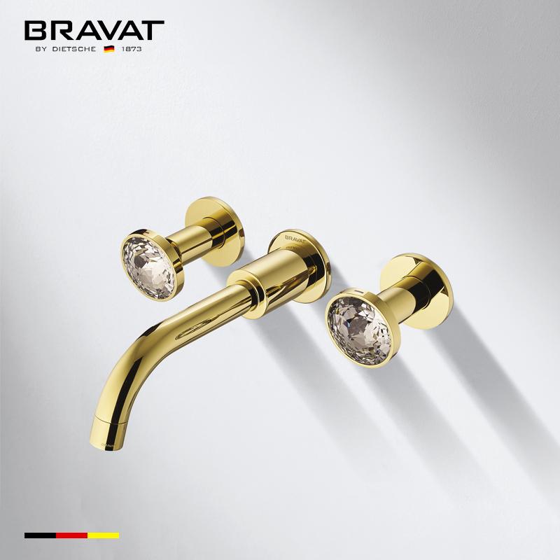 Bravat Gold Finish Wall Mount Dual Handle Bathroom Faucet