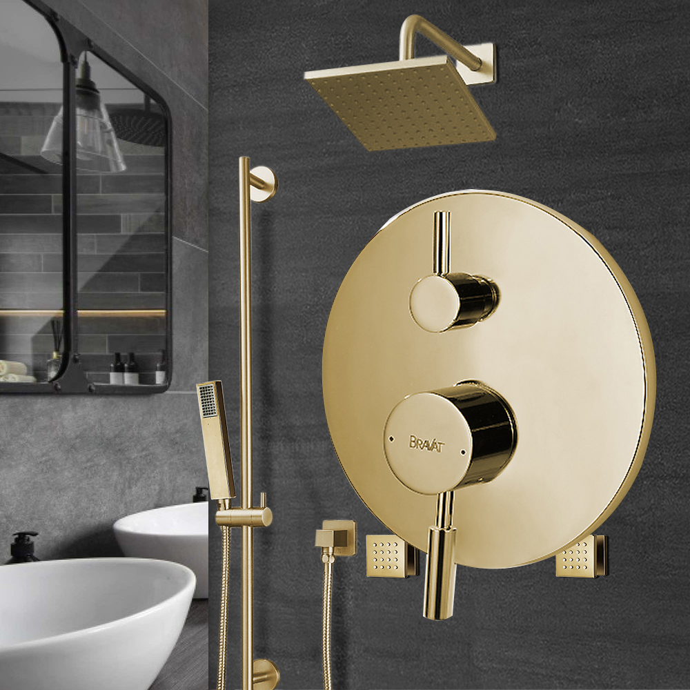 Bravat Rainfall Square Shower Head And Hand Held Shower With Body Jet & Thermostatic Mixer Valve In Brushed Gold Finish