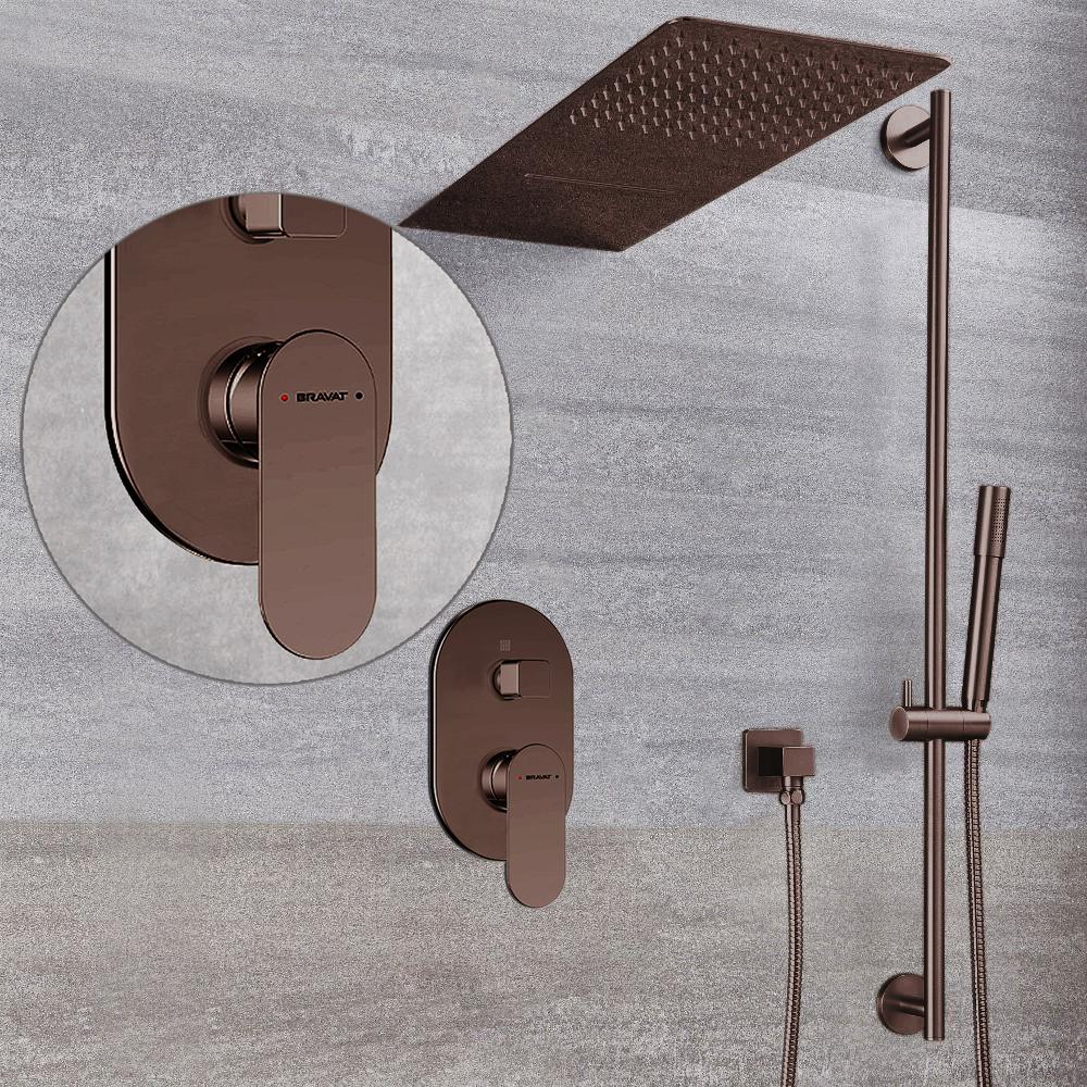 Bravat Thermostatic Light Oil Rubbed Bronze Waterfall & Rainfall Shower Set