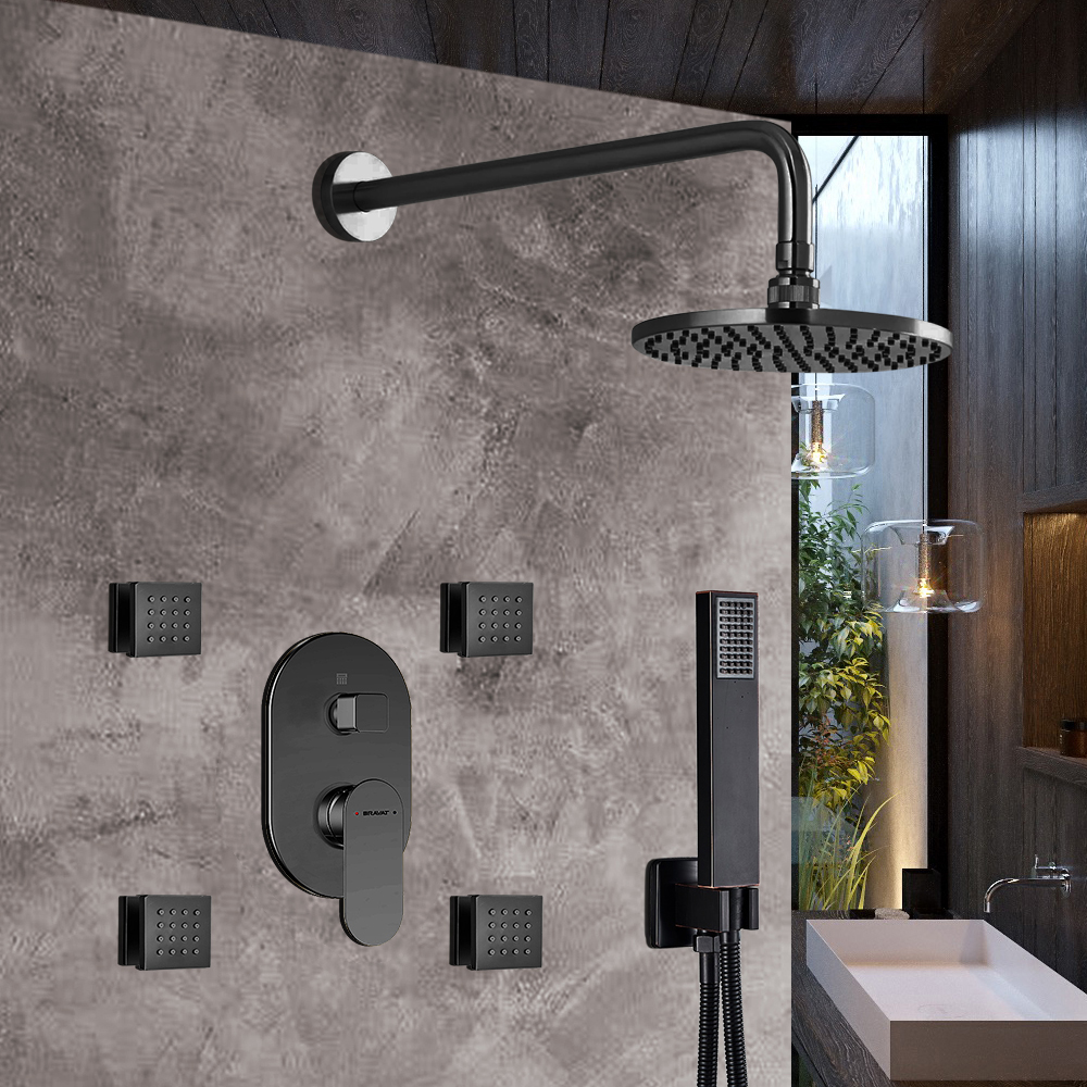 Bravat Wall Mount Dark Oil Rubbed Bronze Shower Set With Thermostatic Valve Mixer 3-Way Concealed