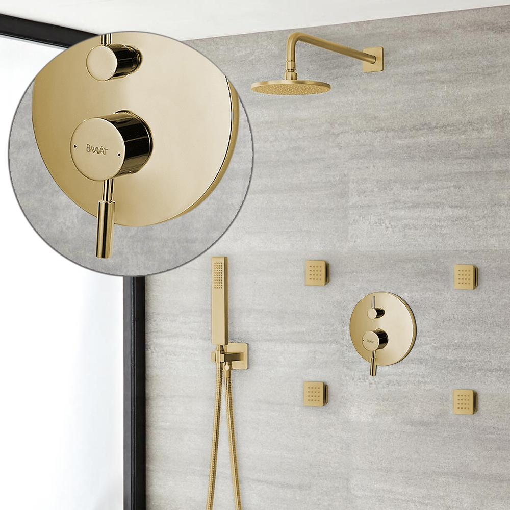 Bravat Wall Mounted Brushed Gold Shower Set With Thermostatic Valve Mixer 3-Way Concealed