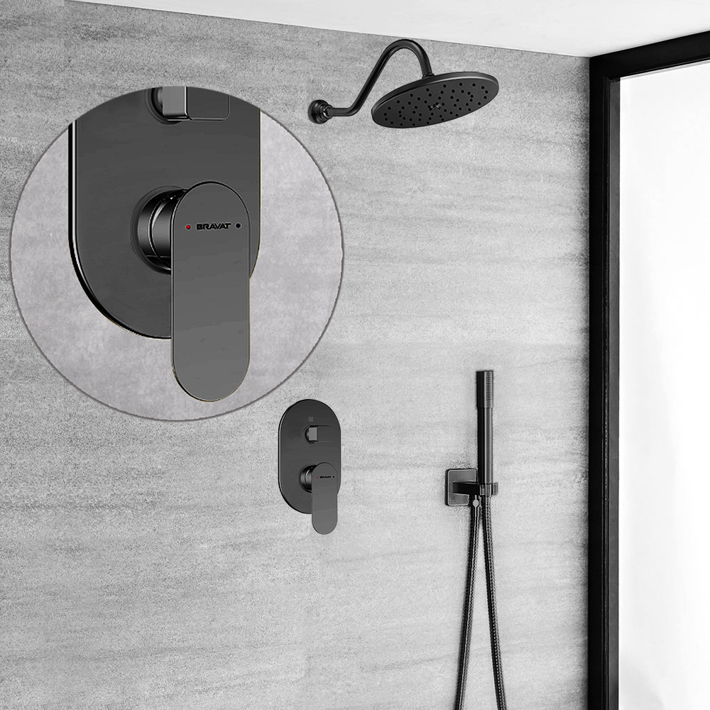 Bravat Wall Mount Dark Oil Rubbed Bronze Shower Set With Thermostatic Valve Mixer Concealed
