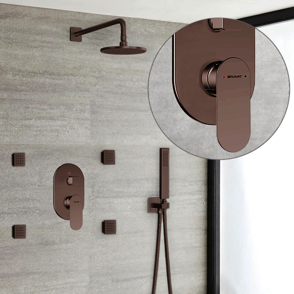Bravat Wall Mount Light Oil Rubbed Bronze Shower Set With Thermostatic Valve Mixer 3-Way Concealed