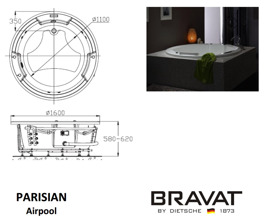 Bravat Surf Hydro-massage Bathtub Specifications