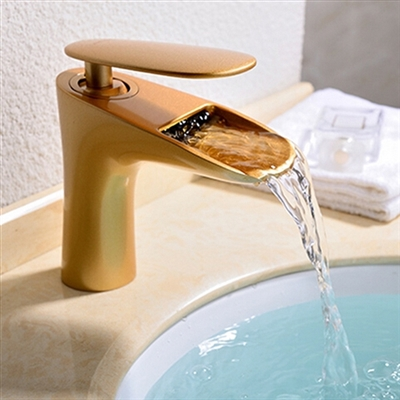 Brio Gold Bathroom Water Fall Faucet - Brass Material Single Lever Hot and Cold