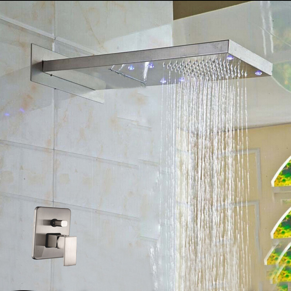 Delicieux Brushed Nickel Bathroom Wall Mount Solid Brass Two Ways Shower Head
