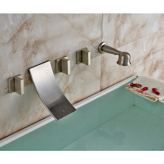 Buy Wall Mount Waterfall Tub Faucet Brushed Nickel Finish