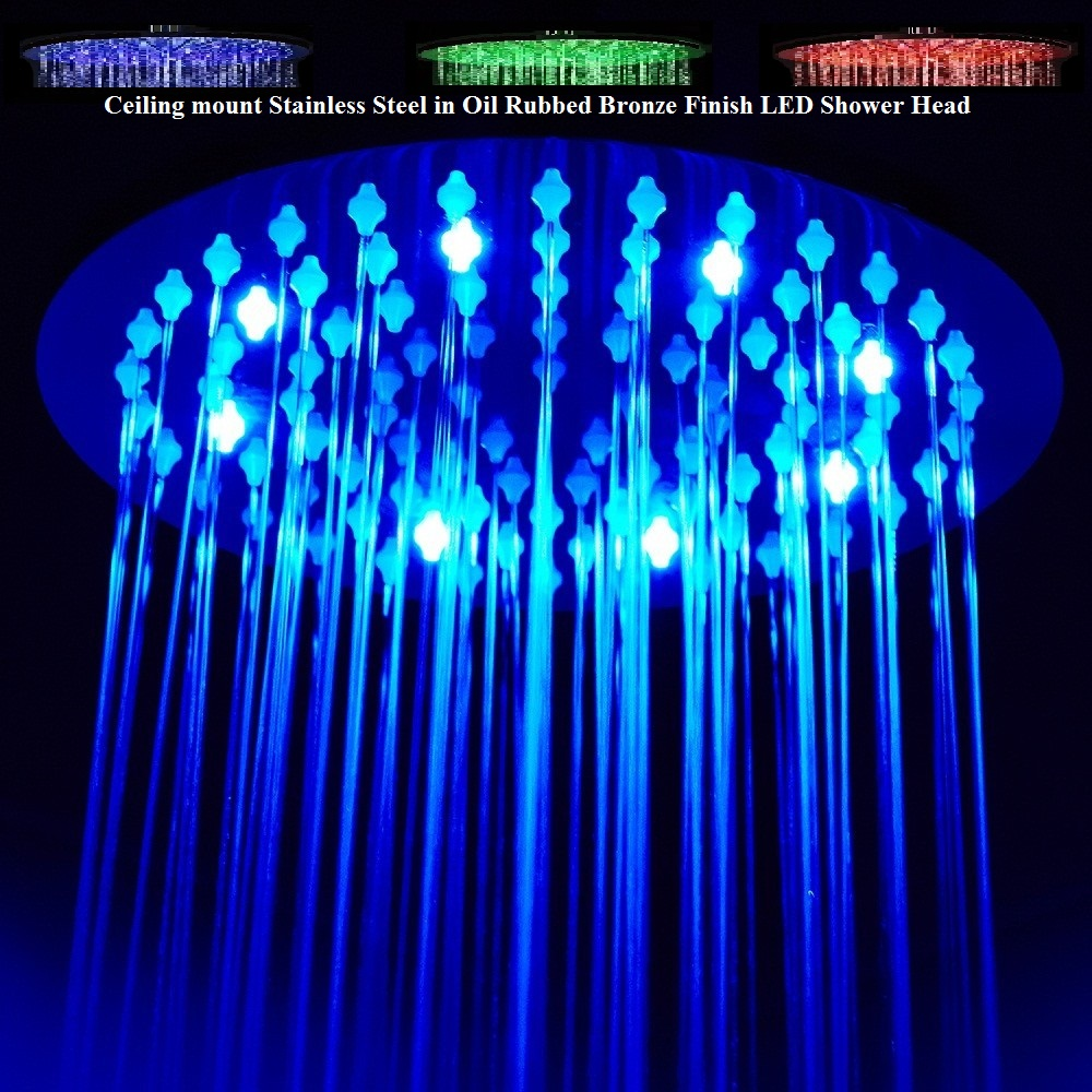Multi Color Changing Stylish Solid Brass Shower Head Oil rubbed