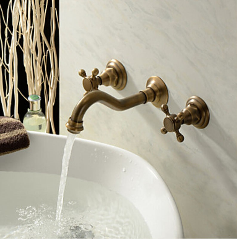 Shop Venice Classico Antique Brass Widespread Wall Mount Faucet At ...