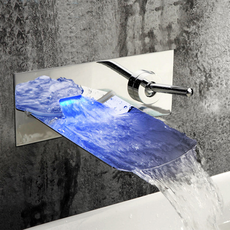 Contemporary Wall Mount LED Water Fall Nickle Brushed Solid Brass Faucet
