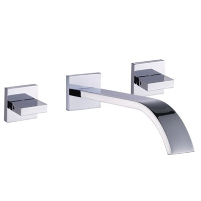 Dual Handle Chrome Finish Wall Mount Vessel Sink Faucet