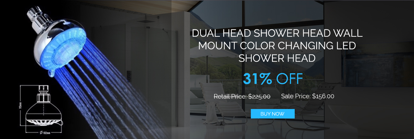 Dual Head Shower Head Wall Mount Color Changing LED Shower Head