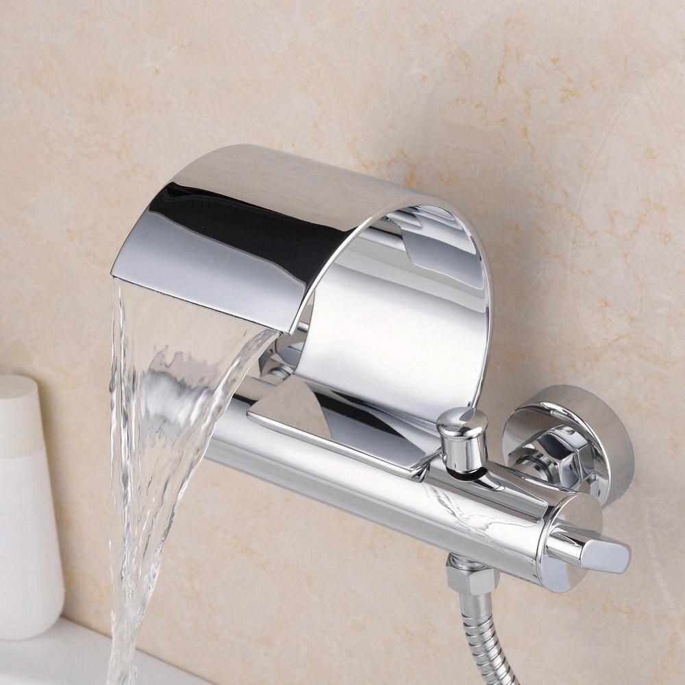 Burzaco Wall Mount Dual Handle Water Fall Bathroom Sink Faucet