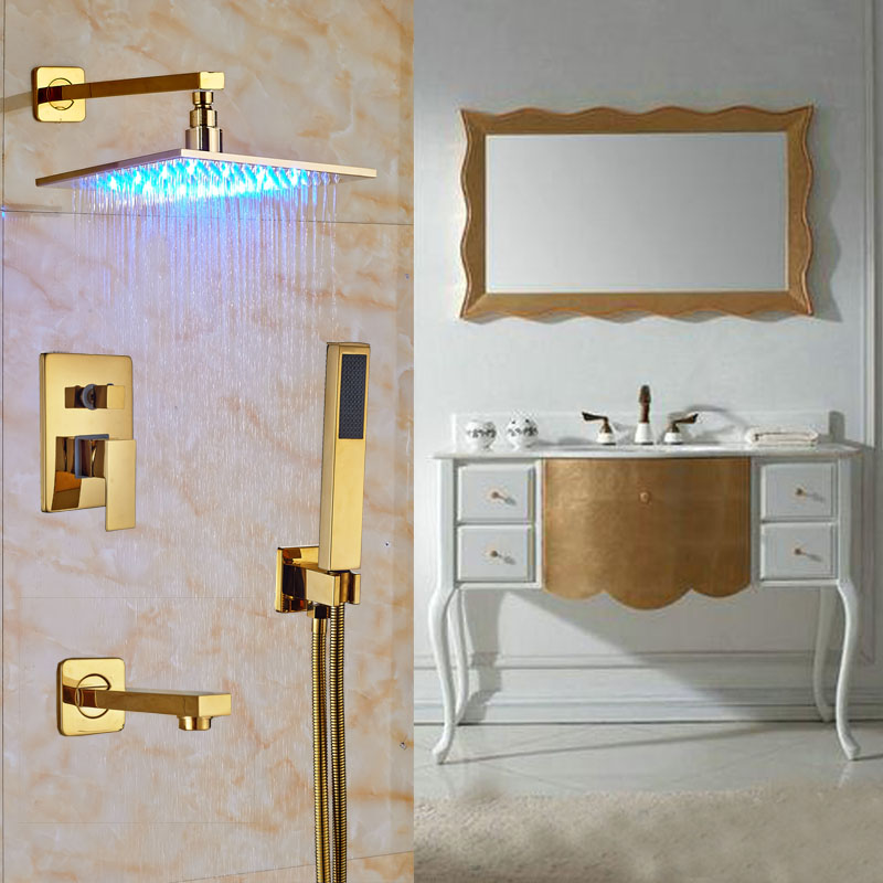 Shop Florence Gold Plated Wall Mount Led Rainfall Shower Set At ...