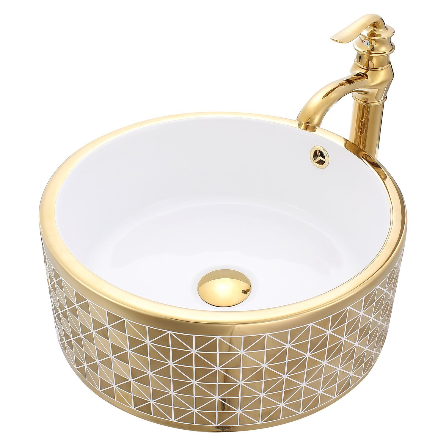 shop florence gold ceramic bathroom sink with faucet 12987