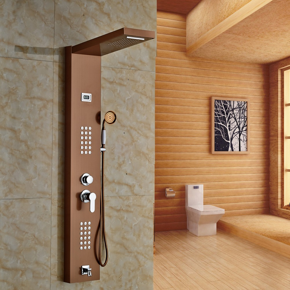 Unique Massage Panel Is Designed For Flat Wall * Shower Panels System Comes  With A Rain Shower Head, A Brass Handheld Shower Head And Massage Jets